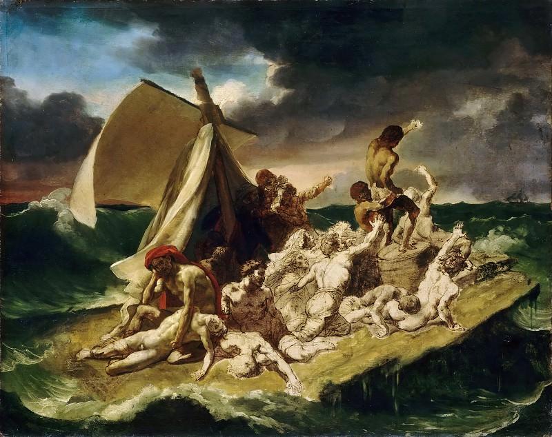 Théodore Géricault -- Raft of the Medusa, second painted sketch (Le Radeau de la Méduse). Part 4 Louvre