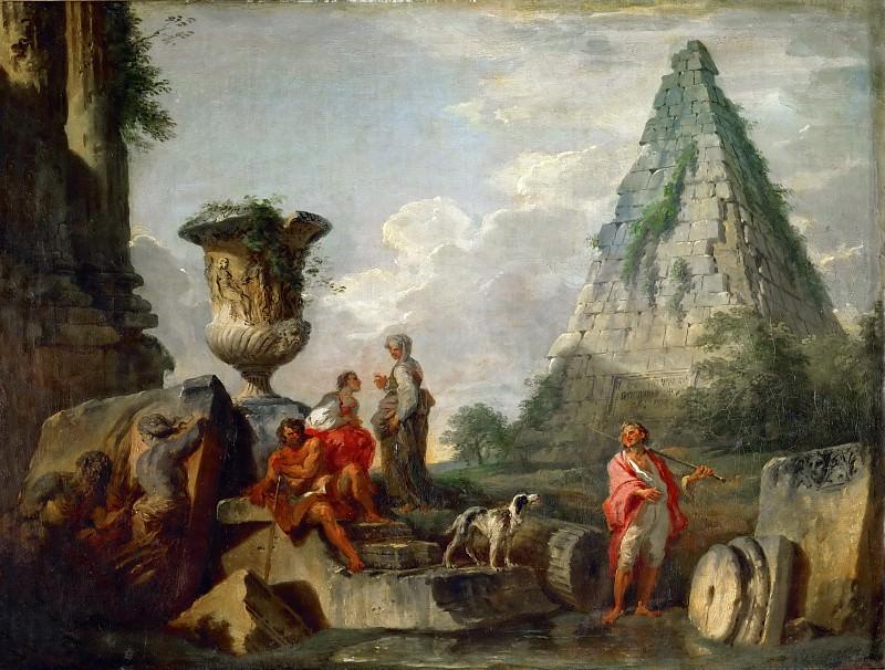 Панини, Джованни Паоло (1691 Пьяченца - 1765 Рим) -- Руины с пирамидой Гая Цестия. часть 4 Лувр