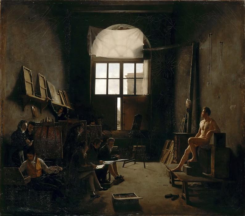 Кошеро, Леон-Матье (1793 Монтийи-ле-Ганелон - 1817 умер в море) -- Интерьер мастерской Давида. часть 4 Лувр