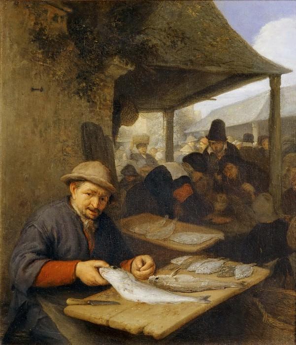 Adriaen van Ostade -- The Fish Market. Part 4 Louvre