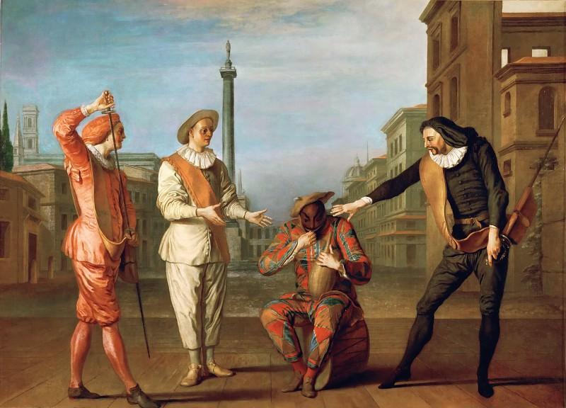 Жилло, Клод (1673 Лангр - 1722 Париж) -- Сцена из комедии Гробница мэтра Андре. часть 4 Лувр