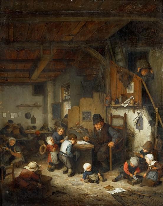 Adriaen van Ostade -- The Schoolmaster. Part 4 Louvre