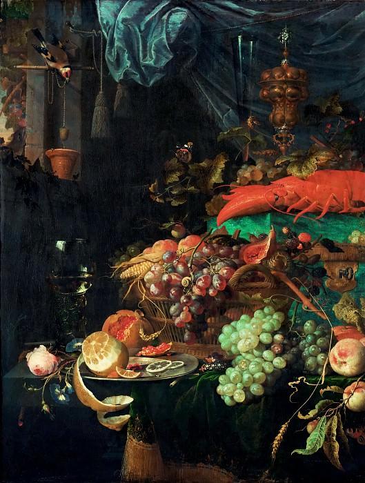 Хем, Ян Давидс де (1606 Утрехт - 1684 Антверпен) -- Натюрморт с фруктами, омаром и щеглом, фрагмент. часть 4 Лувр