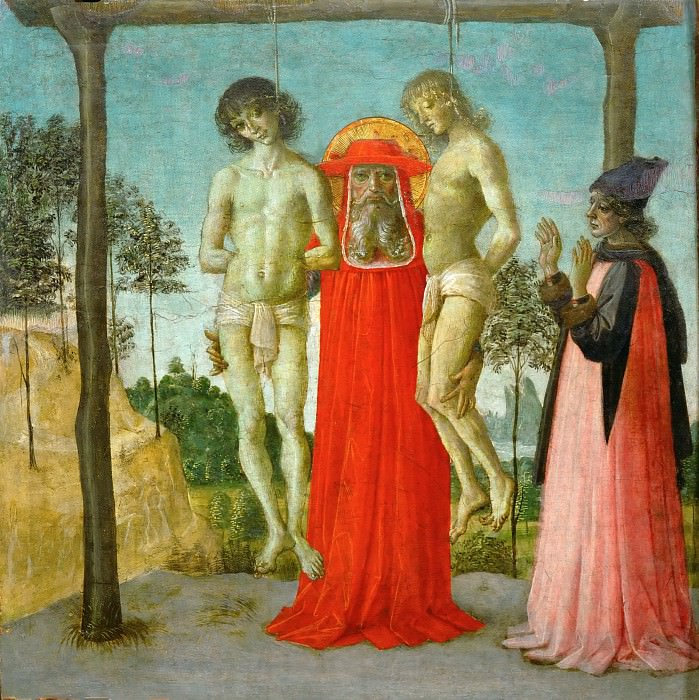 Perugino (c. 1450-1523) -- Saint Jerome Supporting Two Hanged Men. Part 4 Louvre