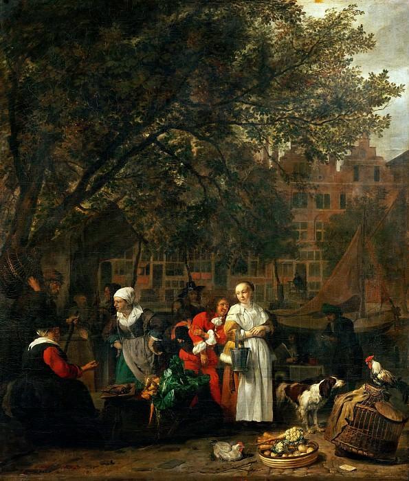 Gabriel Metsu -- Vegetable Market in Amsterdam. Part 4 Louvre