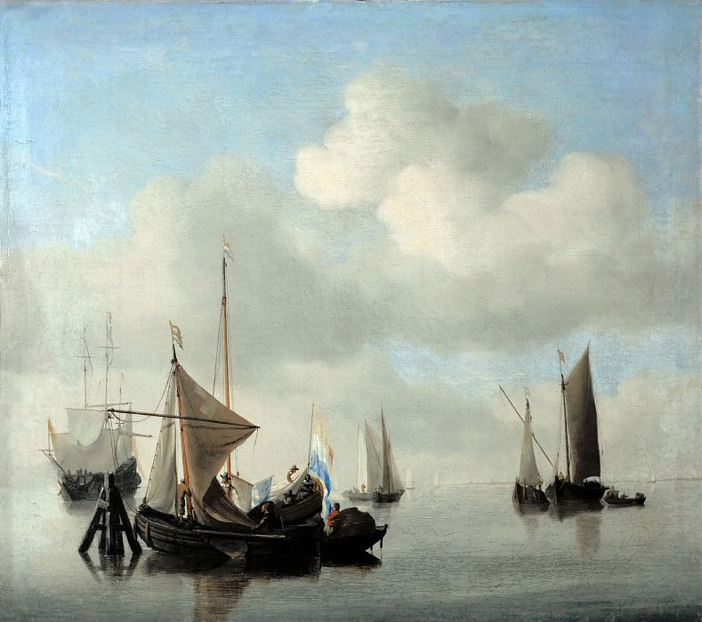 Willem van de Velde II -- Ships in a Calm Sea. Part 4 Louvre