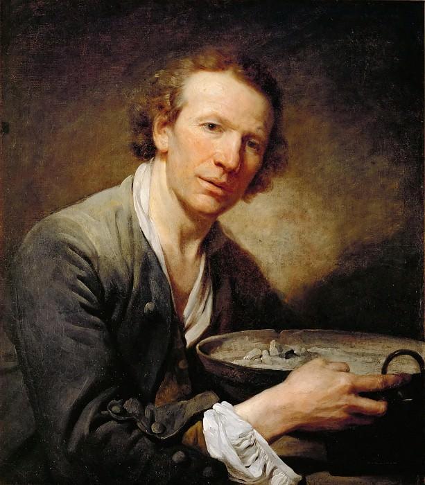 Jean-Baptiste Greuze (1725-1805) -- Portrait of a Man (perhaps Josephe, a model at the Academy). Part 4 Louvre