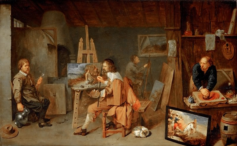 David Ryckaert III (1612-1662) -- Painters in the Studio. Part 4 Louvre