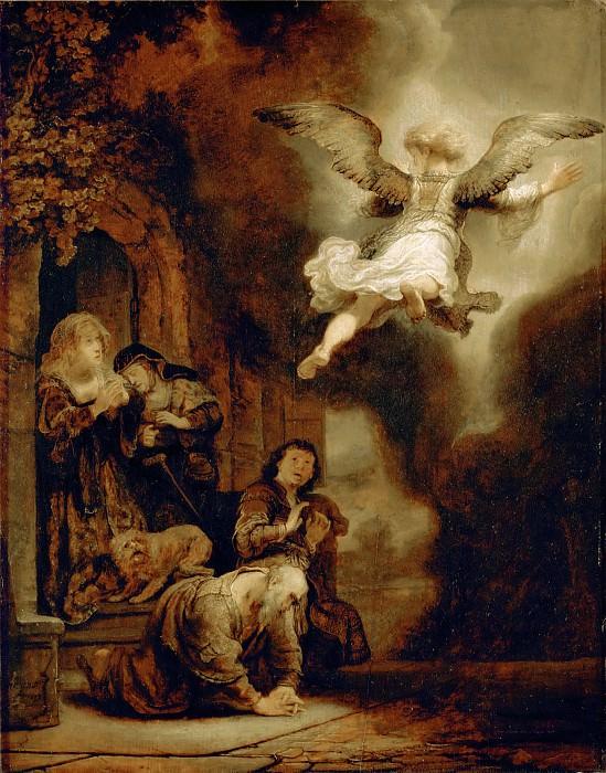 Rembrandt van Rijn -- Archangel Raphael Leaving the Family of Tobit. Part 4 Louvre