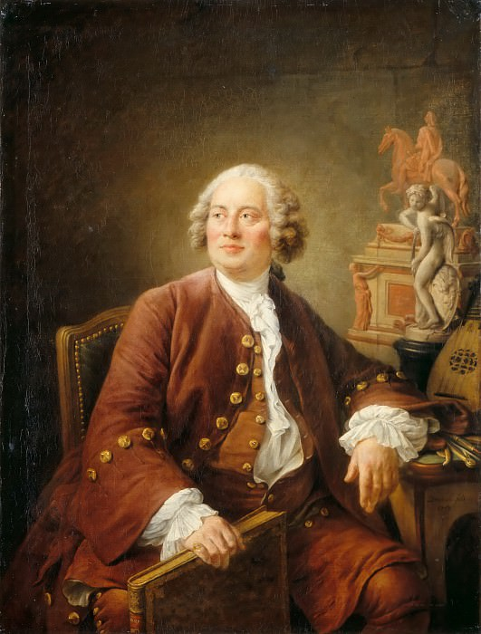 Drouais, Francois Hubert -- Portrait of sculptor Edme Bouchardon (1698-1762). Next to him his sculpture Amor carving his bow and an equestrian statue of king Louis XV, 1758. Canvas, 129 x 97 cm INV. 4108. Part 4 Louvre