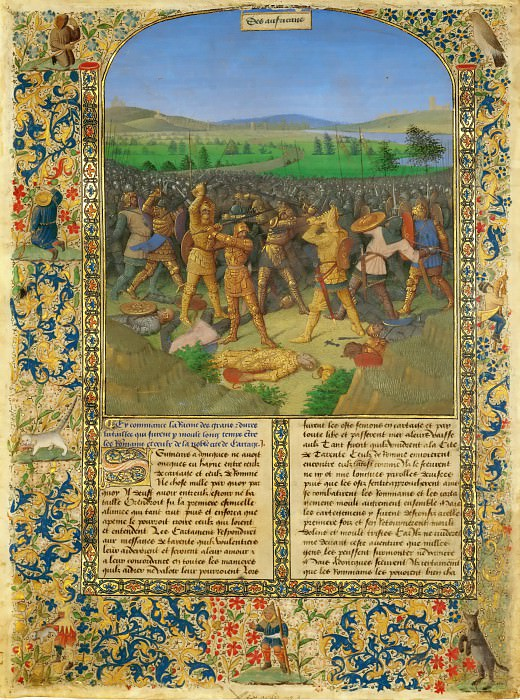 Fouquet, Jean -- A battle between Romans and Carthaginians, probably the battle of Cannae (216 BCE). Page from a manuscript Ancient history to Caesar and the deeds of the Romans much of which has been lost. 1470-1475 Parchment, 44, 8 x 33, 4 cm. R.F. 7251. Part 4 Louvre