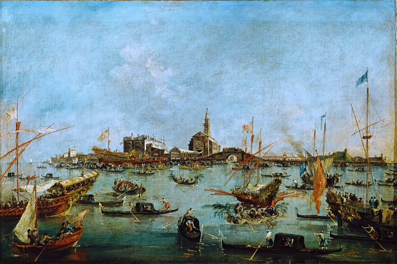 Francesco Guardi (1712-1793) -- The Doge in the Buccintor Passes San Niccolo del Lido on Ascension Day. Part 4 Louvre