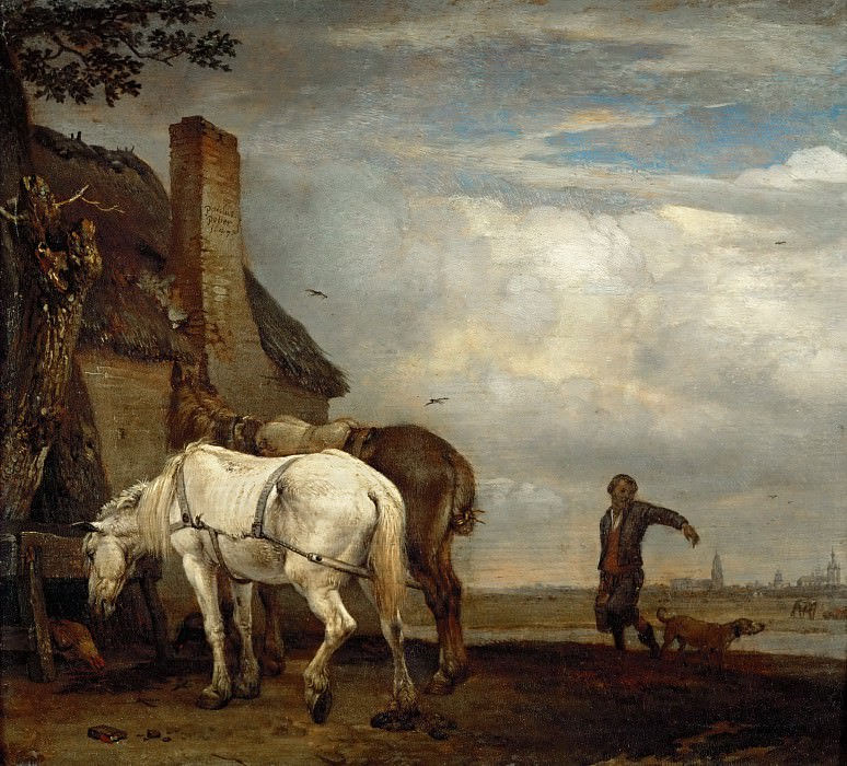 Paulus Potter (1625-1654) -- Two Work Horses in Front of a Farmhouse. Part 4 Louvre