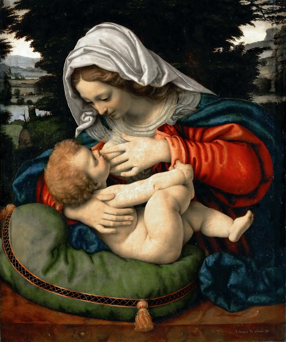 Andrea Solario -- Madonna and Child with Green Cushion. Part 4 Louvre
