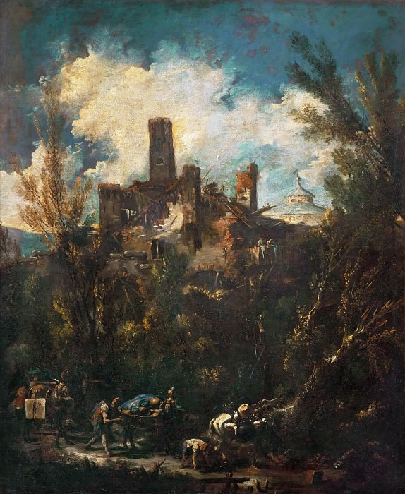 Alessandro Magnasco -- The Muleteer, or Landscape with Castle. Part 4 Louvre