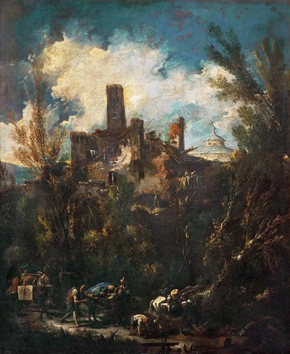 Маньяско, Алессандро (прозв Лиссандрино) (Генуя 1667-1749) -- Пейзаж с замком и путниками. часть 4 Лувр