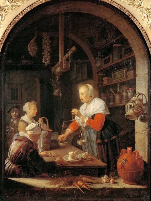Gerrit Dou -- The Village Shopkeeper. Part 4 Louvre