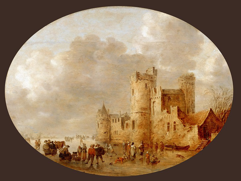 Jan van Goyen (1596-1656) -- Skaters near a Medieval Castle. Part 4 Louvre