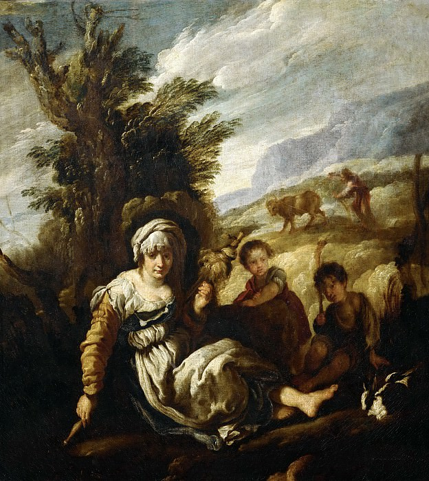 Domenico Fetti -- Eve Spinning, Adam Ploughing (Country Life). Part 4 Louvre