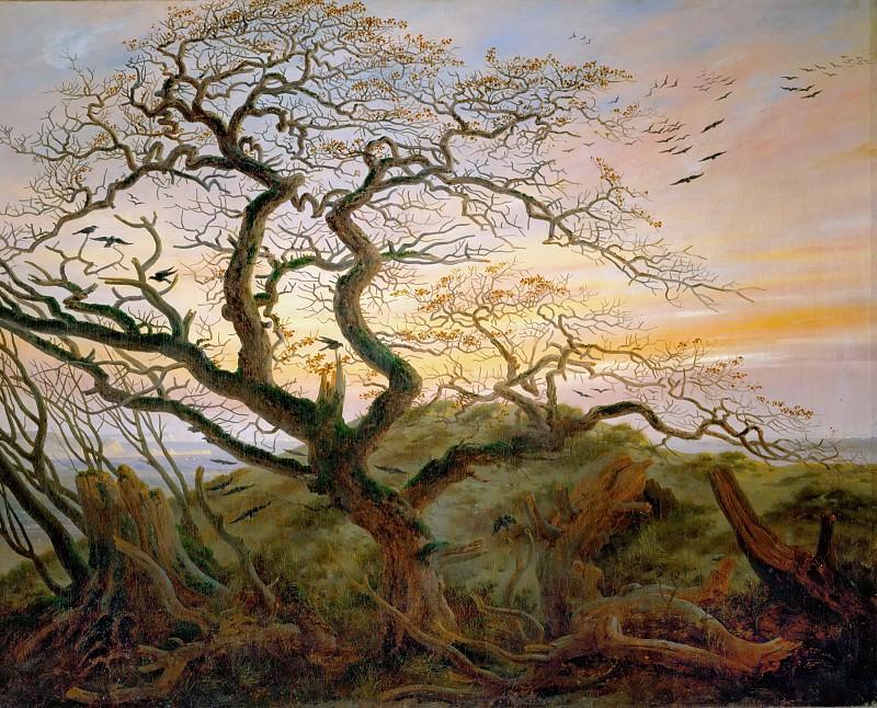 Caspar David Friedrich -- Tree with Ravens and Prehistoric Tumulus on the Baltic Coast. Part 4 Louvre