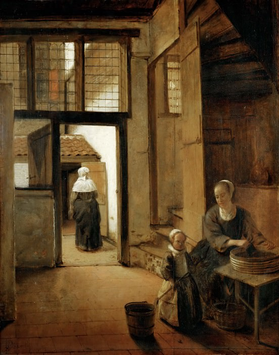 Pieter de Hooch (1629-1684) -- Courtyard of a Dutch House. Part 4 Louvre
