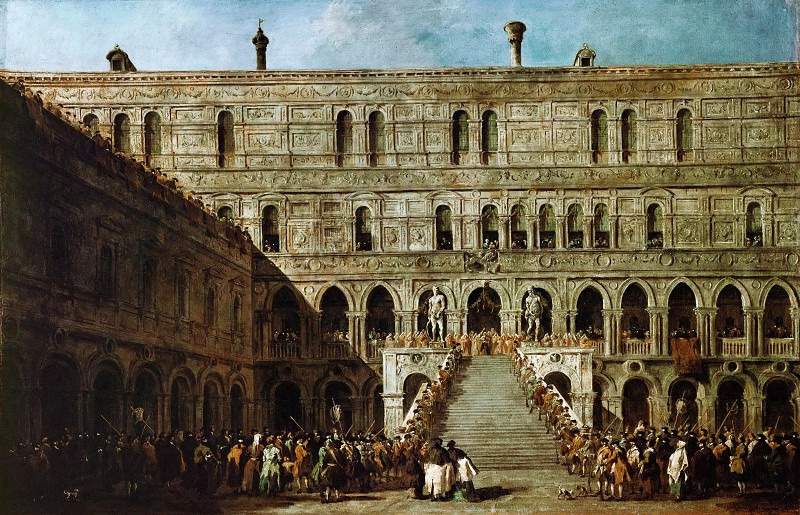 Francesco Guardi (1712-1793) -- Coronation of the Doge on the Stairs of the Giants (Scala dei Giganti) of the Ducal Palace of Venice. Part 4 Louvre