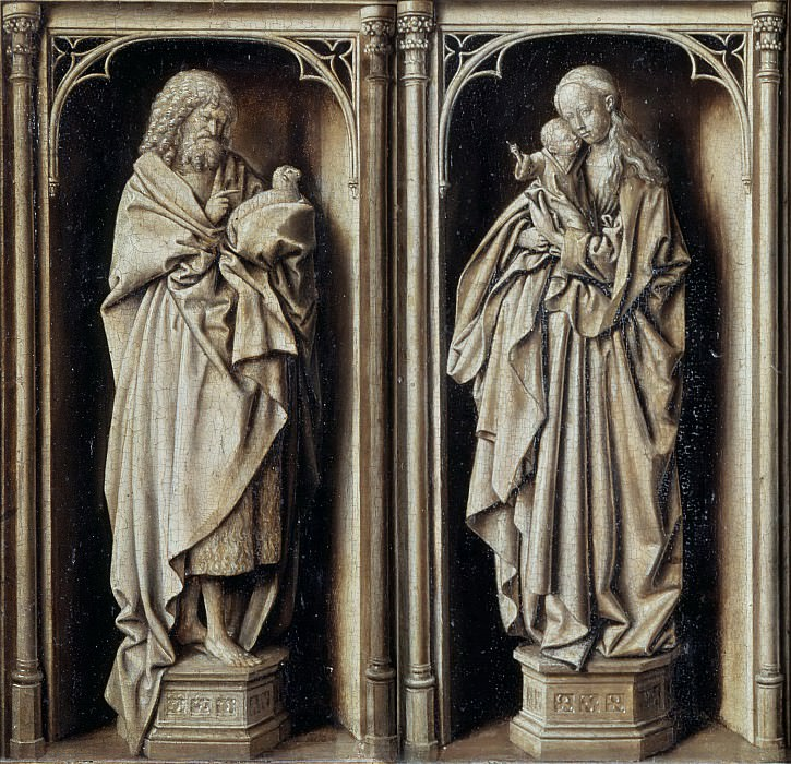 Circle of Jan van Eyck; formerly attributed to follower of Petrus Christus -- Grisaille Diptych, with Saint John the Baptist and the Virgin and Child. Part 4 Louvre (front)