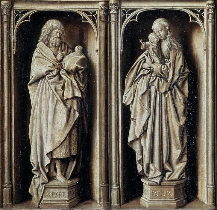 Эйк, Ян ван, круг -- Диптих с Иоанном Крестителем и Мадонной с Младенцем. часть 4 Лувр