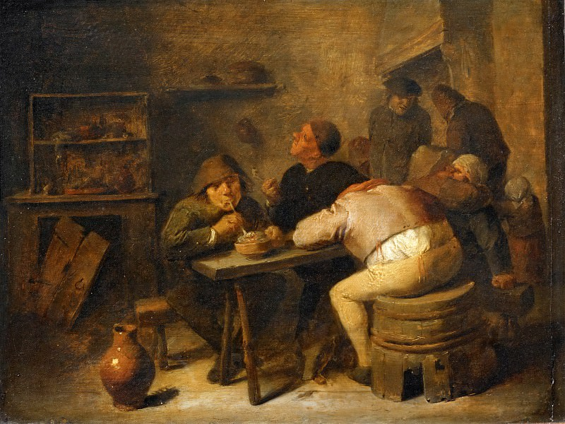 Adriaen Brouwer (1605 or 1606-1638) -- Interior of a Tavern. Part 4 Louvre