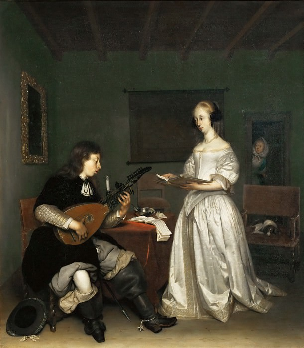 Gerard Terborch II -- The duo: singer and theorbé-lute player. Part 4 Louvre