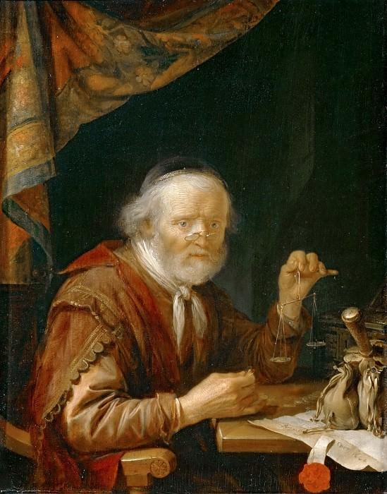 Gerrit Dou -- Man Weighing Gold. Part 4 Louvre
