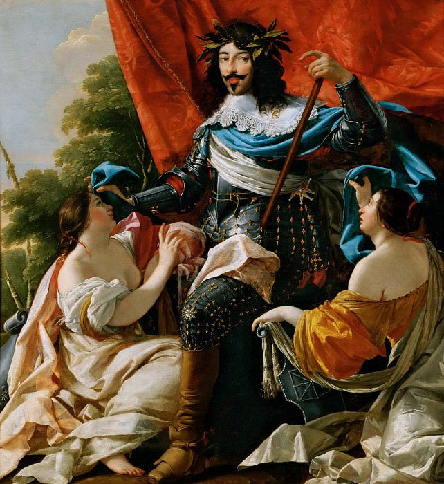 Simon Vouet -- Louis XIII between two female figures symbolizing France and Navarre. Part 4 Louvre