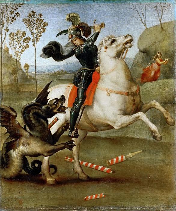 Saint George and the Dragon. Raffaello Sanzio da Urbino) Raphael (Raffaello Santi