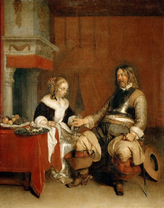 Gerard Terborch II -- The Dashing Officer. Part 4 Louvre