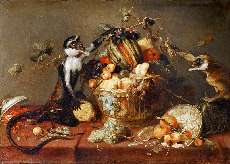 Frans Snyders -- Two monkeys piling a basket with fruit. Part 4 Louvre