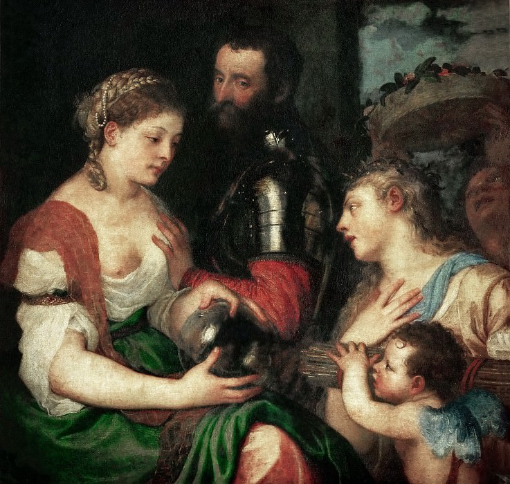 Titian -- Allegory of Marriage Speaks to Alphonse d'Avalois, Marquis del Vasto. Part 4 Louvre