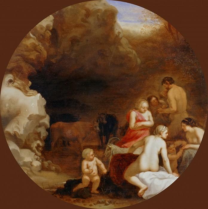 Пуленбурх, Корнелис ван (Утрехт 1586-1667) -- Нимфы и Сатир у пещеры. часть 4 Лувр