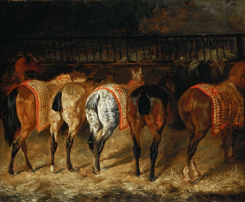 Théodore Géricault, completed by Pierre-François Lehoux -- Five Horses Viewed from the Back in a Stable (Horse Rumps). Part 4 Louvre