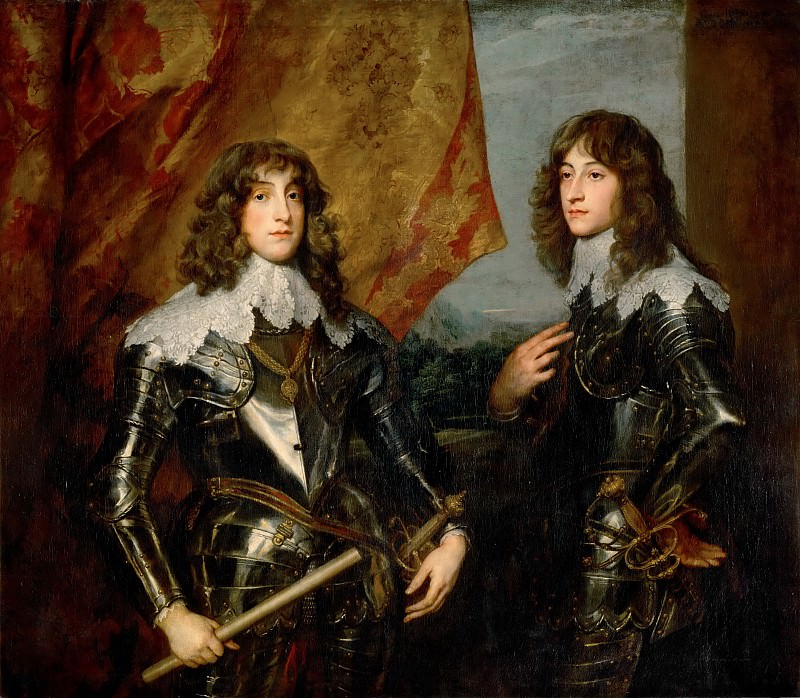 Anthony van Dyck -- Prince Charles Louis (1617-1680), Elector Patatine, and Prince Rupert (1619-1682) (Double portrait of the Palatine Princes Karl Ludwig I, elector (1617-1680) and his brother Robert (1619-1682). Part 4 Louvre