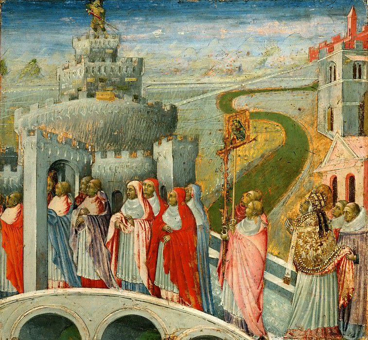Giovanni di Paolo -- Procession of Saint Gregory at the Castel Sant'Angelo, Rome. Part 4 Louvre