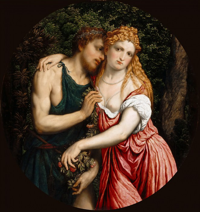 Paris Bordone -- Representation of a mythological Couple (Daphnis and Chloë; Angelica and Medoro; Vertumnus and Pomona ?). Part 4 Louvre