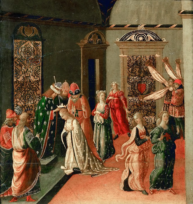 Jacopo del Sellaio (c. 1441-1493) -- The Coronation of Esther by Ahasuerus. Part 4 Louvre