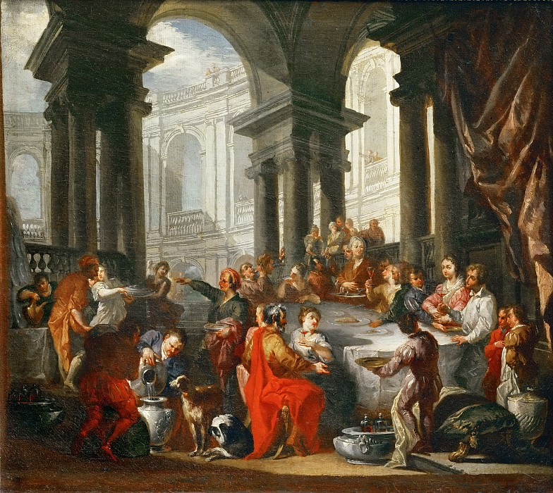 Giovanni Paolo Panini -- Feast under an Ionic portico.. Part 4 Louvre