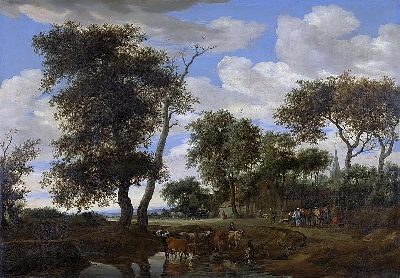 Саломон ван Рейсдаль -- Вид деревни, 1663. Рейксмузеум: часть 3