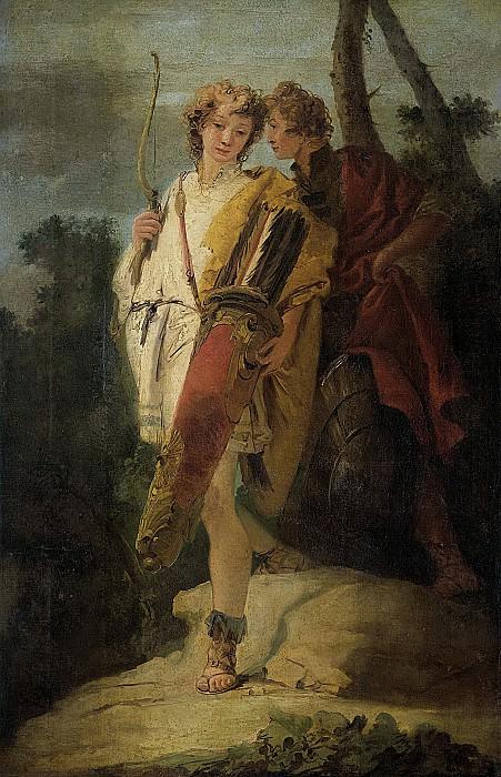 Tiepolo, Giovanni Battista -- Jonge man met een boog en een grote pijlenkoker en zijn kameraad met een schild, 1730-1750. Rijksmuseum: part 3