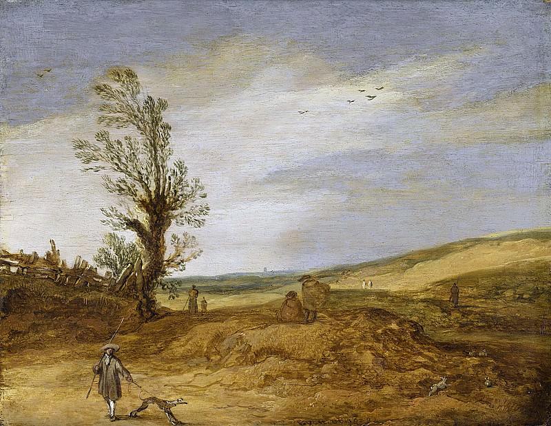 Эсайас ван де Вельде -- Пейзаж - дюны, 1629. Рейксмузеум: часть 3