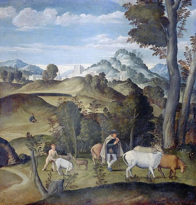 Джироламо да Санта Кроче -- Юный Меркурий, ворующий скот из стада Аполлона, 1530-1550. Рейксмузеум: часть 3