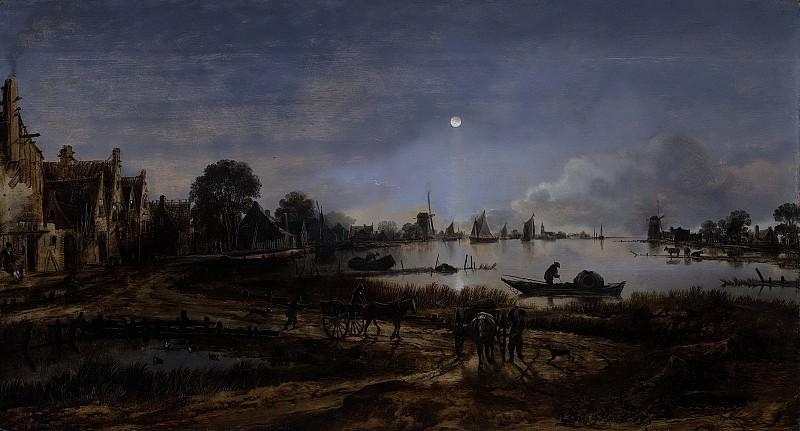 Neer, Aert van der -- Riviergezicht bij maanlicht, 1640-1650. Rijksmuseum: part 3