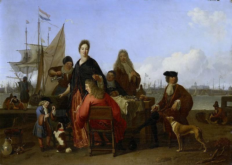 Людольф Бакхёйзен -- Семьи Бакхейзен и де Хоге за обедом на Устричном причале в Амстердаме, 1702. Рейксмузеум: часть 3