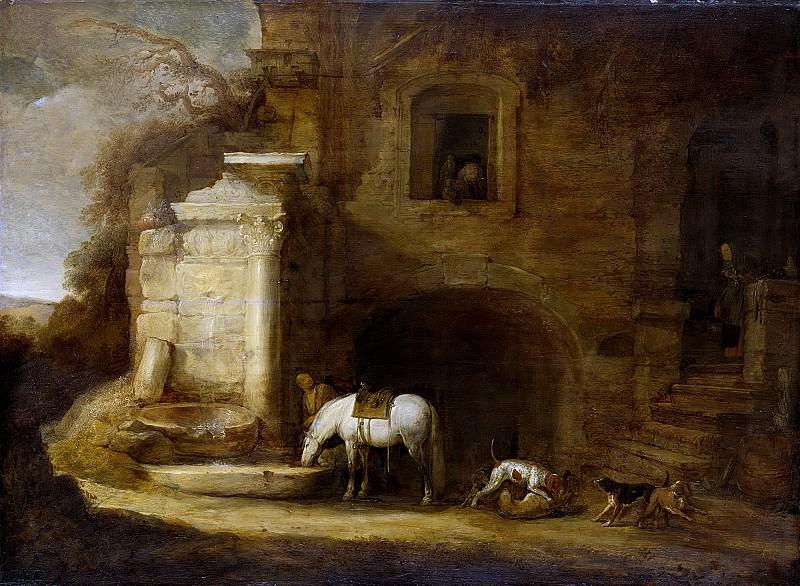 Симон де Флигер -- Возвращение домой сокольничего, 1637. Рейксмузеум: часть 3